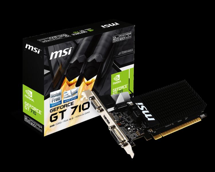 Videokaart MSI GeForce GT 710 PCI-E, 2GB DDR3, 64-bit, HDMI, VGA, DVI, Low-profile (sobib ka madala korpusega desktop-arvutitesse), garantii 2 aastat