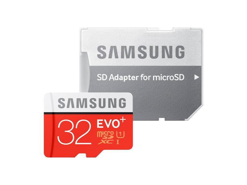 SD Micro 32GB mälukaart, Samsung EVO Plus, lugemine 80MB/s, kirjutamine 20 MB/s, UHS-I, Class10, uus, tavamõõdus adapter kaasas, garantii 3 aastat