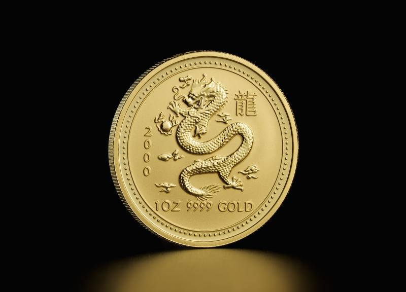 2000 1 oz Australian Gold Lunar Year of the Dragon