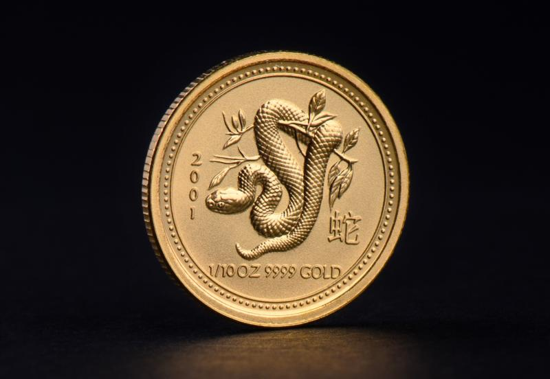 2001 1 oz Australian Gold Lunar Year of the Snake