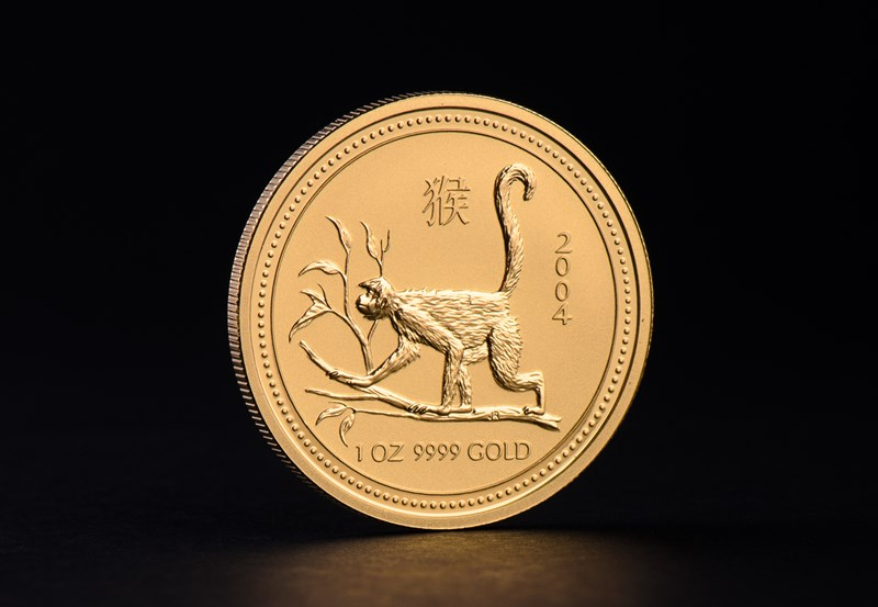 2004 1 oz Australian Gold Lunar Year of the Monkey