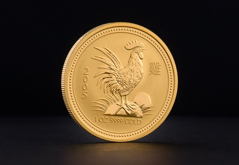 2005 1 oz Australian Gold Lunar Year of the Rooster