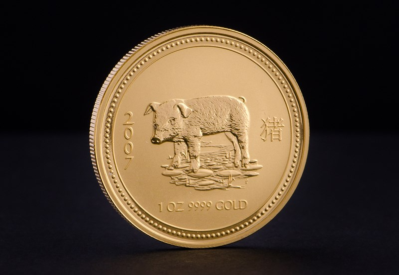 2007 1 oz Australian Gold Lunar Year of the Pig