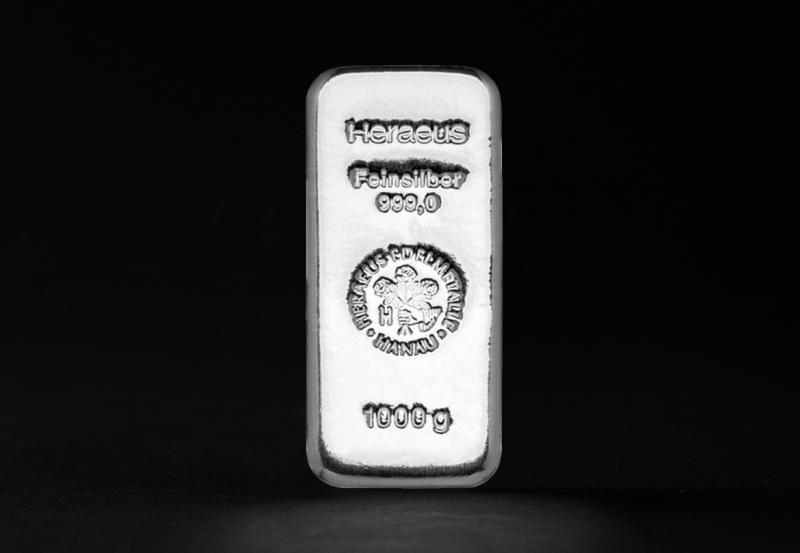 1000 gram Heraeus Sølvbarrer