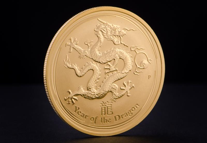 2012 1 oz Australian Gold Lunar Year of the Dragon