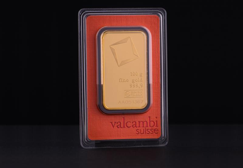 100 gram Guldtacka Valcambi Suisse
