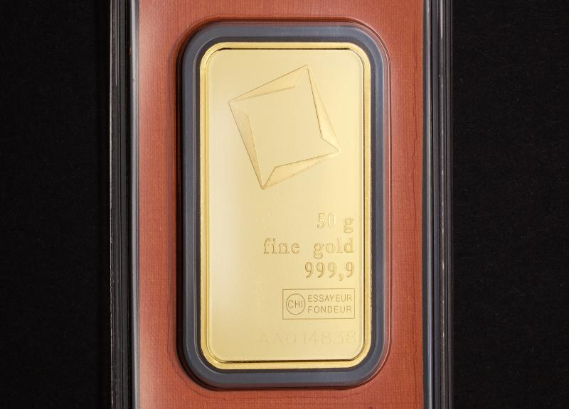 50 gram Guldtacka Valcambi Suisse