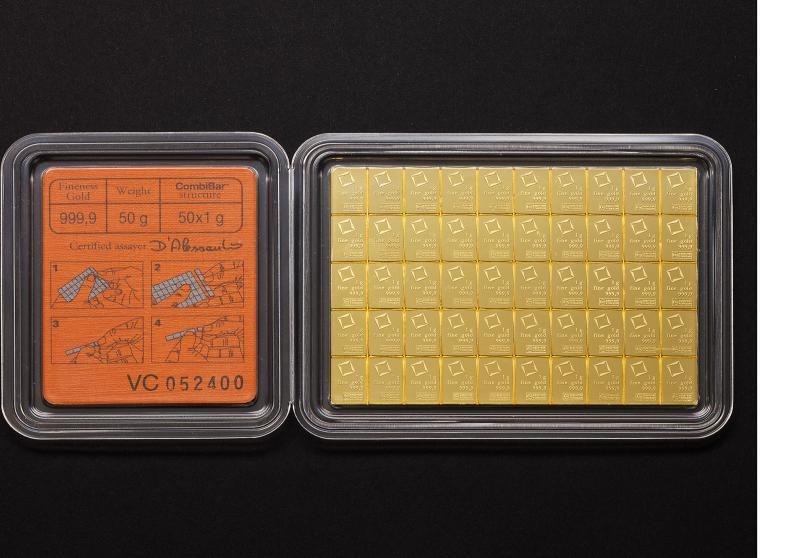 50×1 gram Guld CombiBar Valcambi Suisse