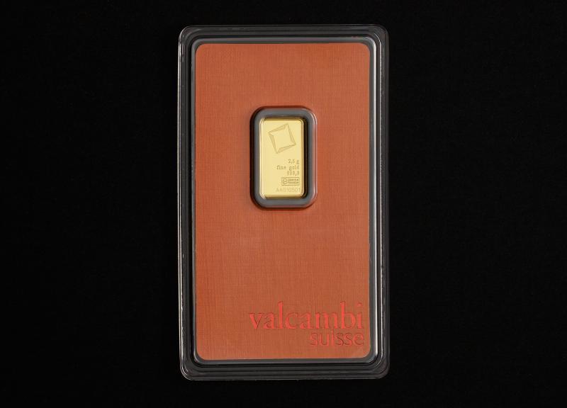2.5 gram Guldtacka Valcambi Suisse