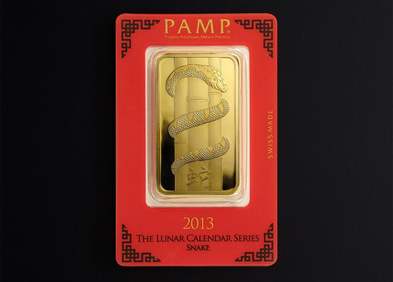 100 gram Gold Bars PAMP Lunar Snake