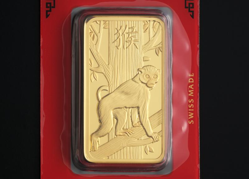 100 gram Gold Bars PAMP Lunar Monkey