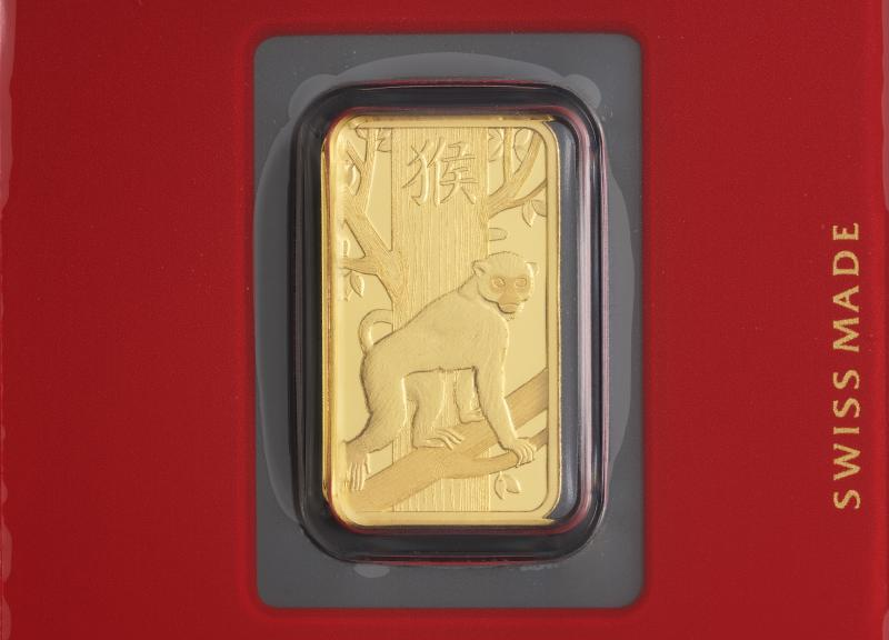 5 gram Gold Bars PAMP Lunar Monkey