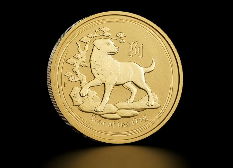 2018 1 oz Australian Gold Lunar Year of the Dog