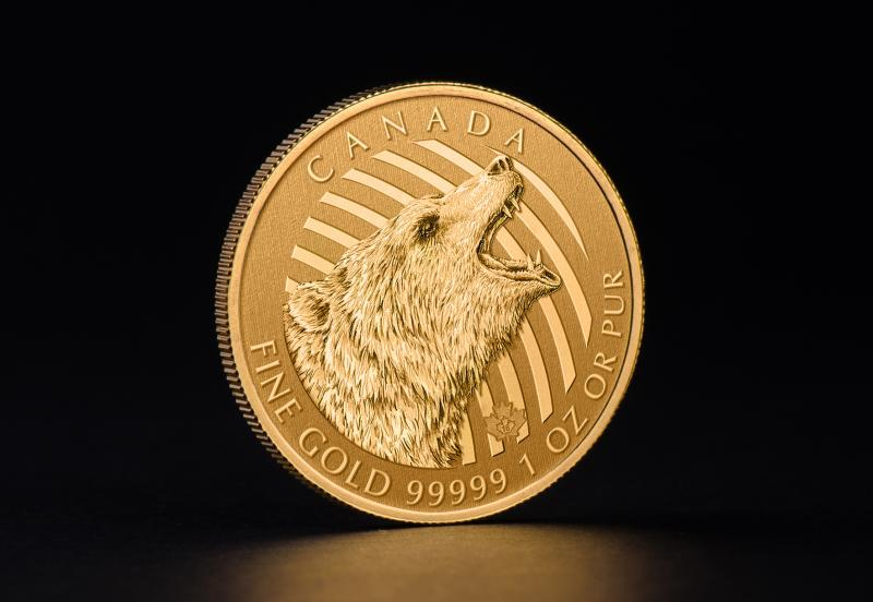 2016 1 oz Canadian Gold Roaring Grizzly