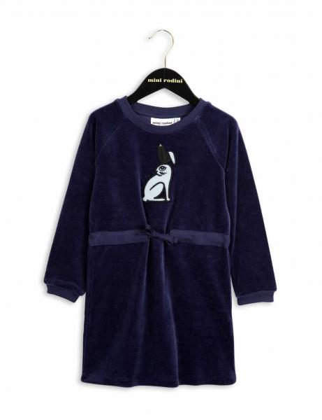 Mini Rodini Rabbit Velour Dress-DK Blue