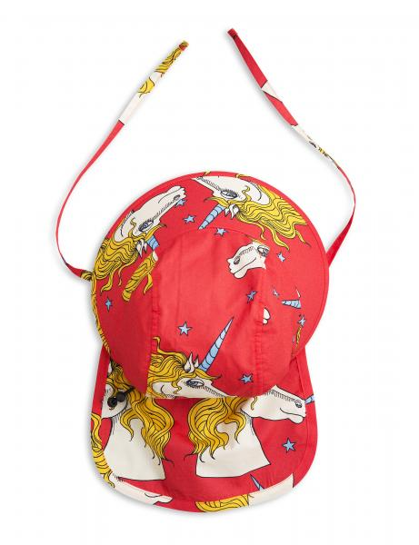 Mini Rodini Unicorn Star Sun Hat-Red