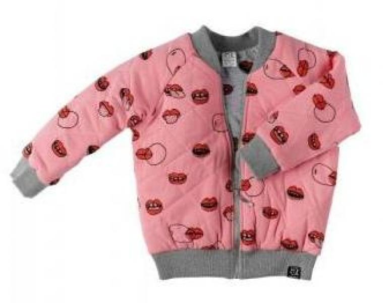 Kukukid Bomber Jacket Pink/Grey Melange Lips