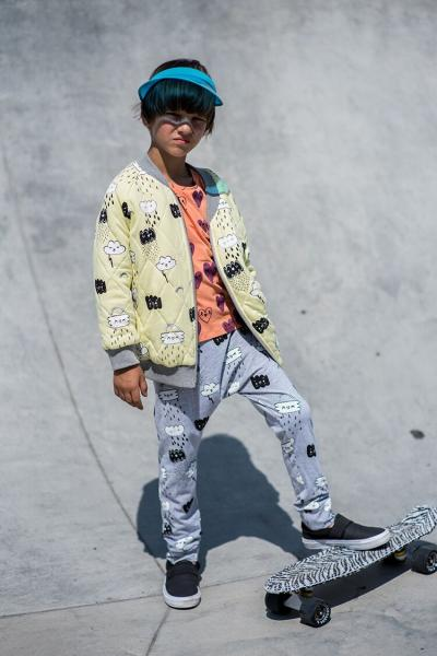 Kukukid Bomber reversible Jacket - Yellow/Grey Melange Clouds