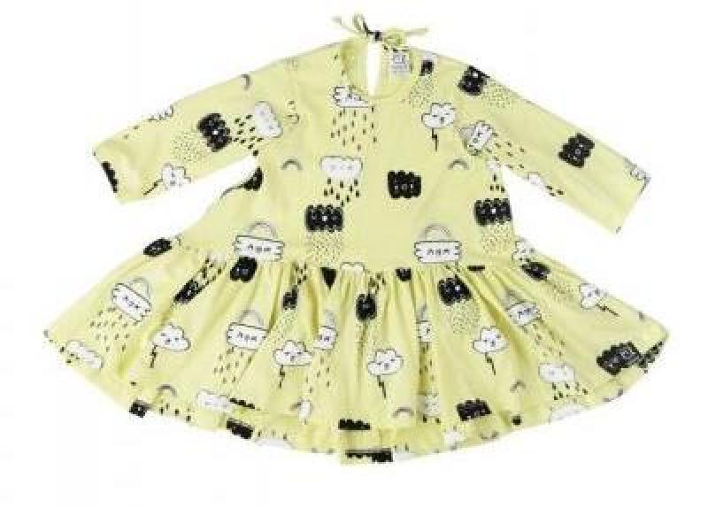 Kukukid Longsleeve Dress - Yellow Clouds