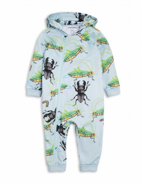 Mini Rodini Insects Onesie Light Blue