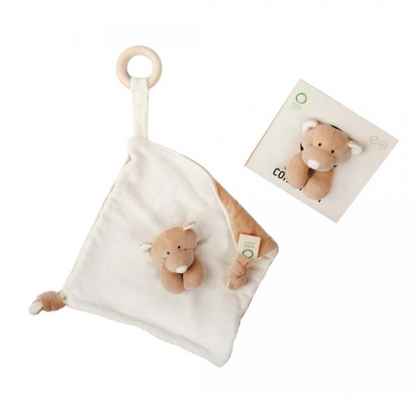 Wooly Organic Comforter With Wooden Teether- Teddy