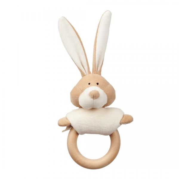 Wooly Organic Rattle With Wooden Teether Bunny
