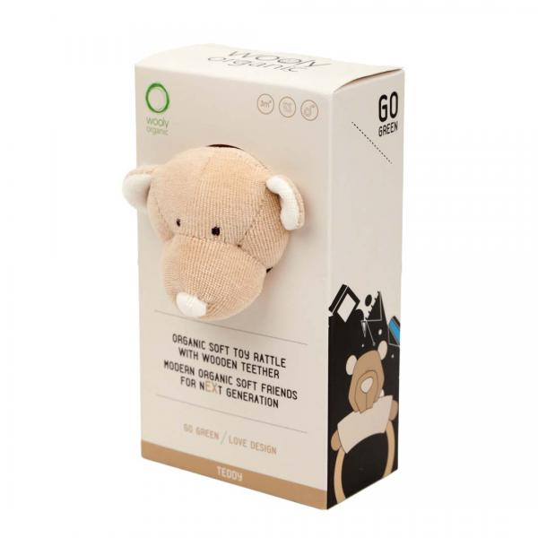 Wooly Organic Rattle With Wooden Teether Teddy