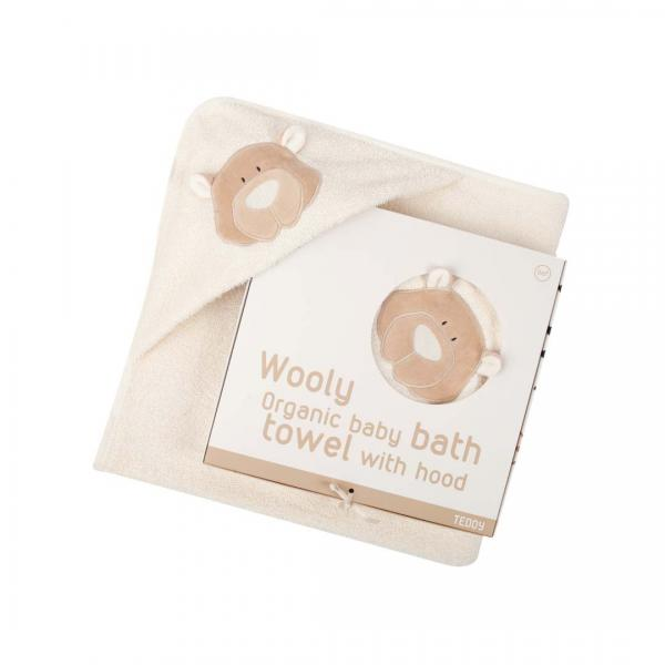 Wooly Organic Baby Bath Towel With Hood Teddy