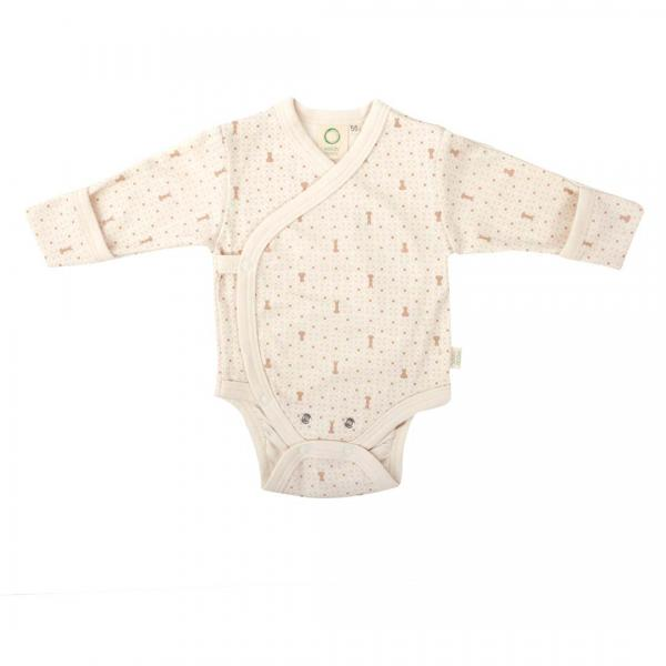 Wooly Organic Baby Body -Ecru Color With Brown print