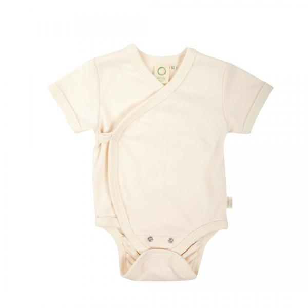 Wooly Organic baby Body With Short Sleeves-Ecru colour