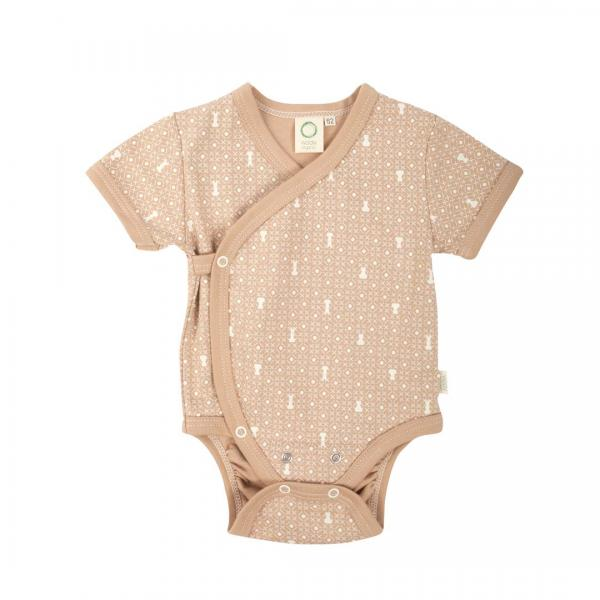 Wooly Organic Baby Body With Short Sleeves Brown Colour with Ecru print