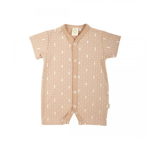 Wooly Organic Baby Romper Suit Brown Colour With Ecru print