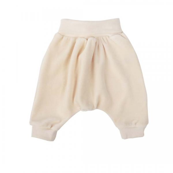 Wooly Organic Baby Velour Pants- Ecru color