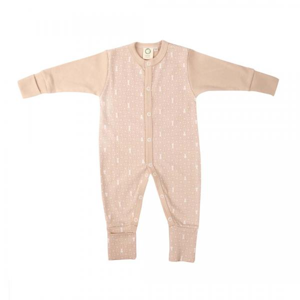 Wooly Organic Sleepsuit - Brown Colour With Ecru Print