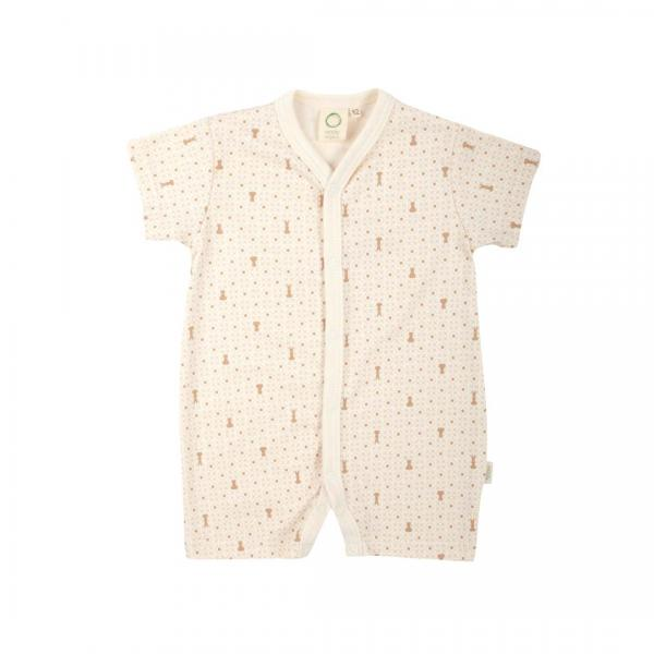 Wooly Organic Romper Suit-Ecru With Brown Print