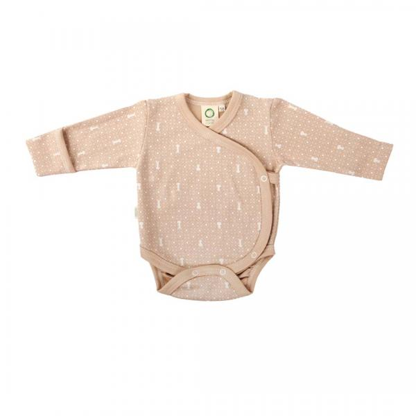 Wooly Organic Baby Body-Brown With Ecru Print