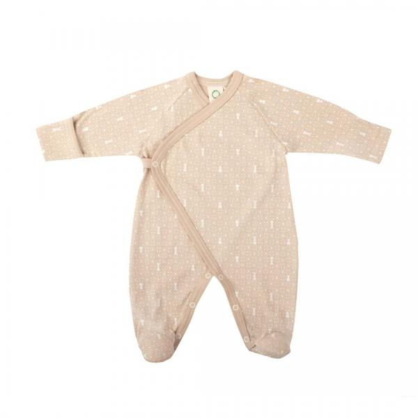 Wooly Organic Sleepsuit - Brown Color With Ecru Print With Foot