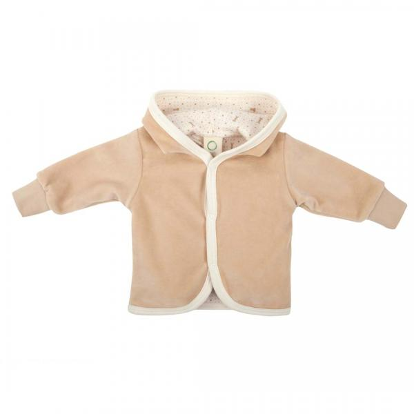 Wooly Organic Baby Velour Jacket-Brown Color/Printed Ecru Lining