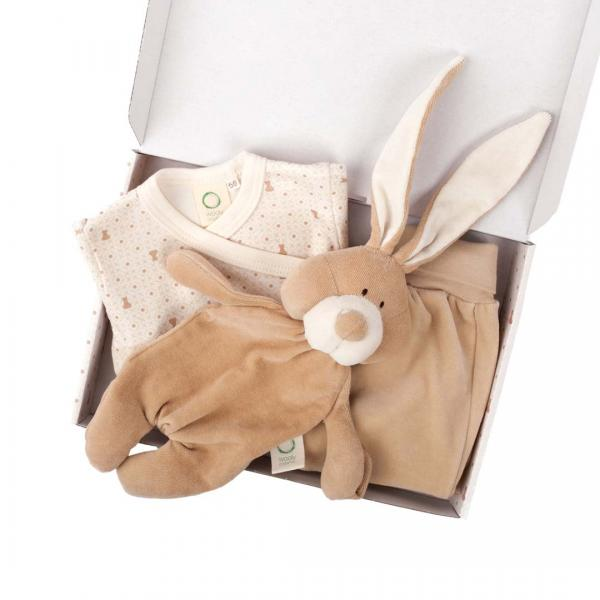 Wooly Organic Baby Gift Set-Body,Velour Pants and Bunny Comforter