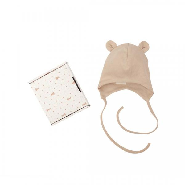 Wooly Organic Baby Hat With Ties and Teddy Ears-Brown Color