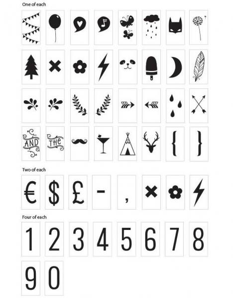 Lightbox symbol set: Numbers & symbols