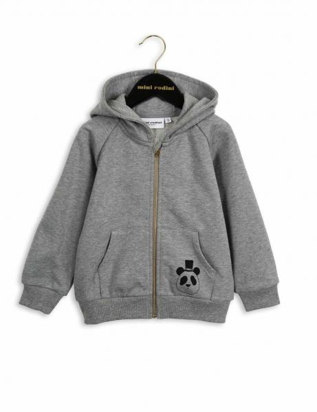 Mini Rodini Basic Zip Hood Grey Mel