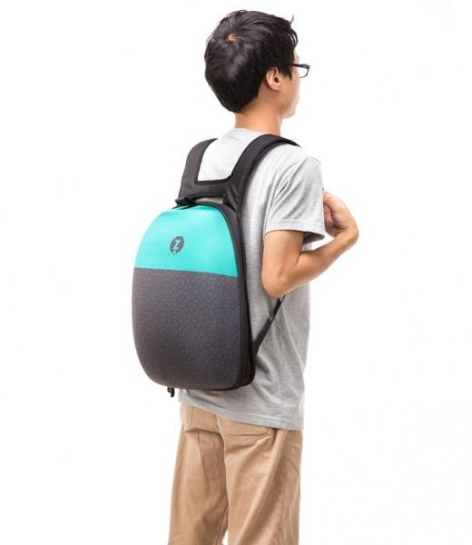 Shellbag Backpack Black & Turquoise