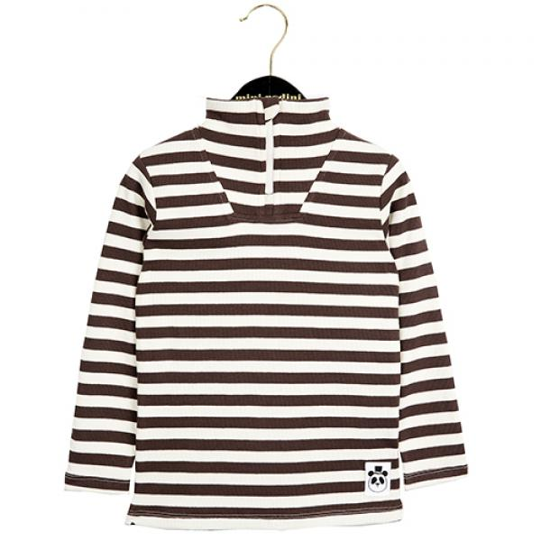Mini Rodini Stripe Rib Polo LS Tee Brown