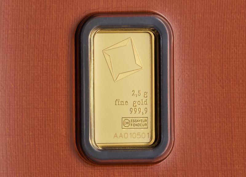 2,5 g Valcambi Suisse guldbarrer