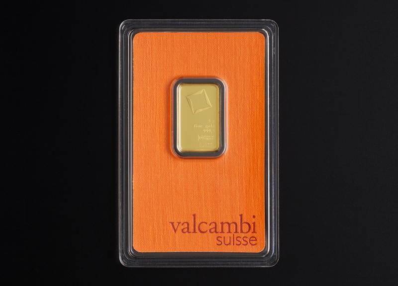 5 g Valcambi Suisse guldbarrer