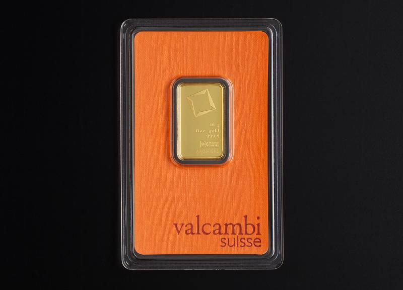 10 g Valcambi Suisse guldbarrer
