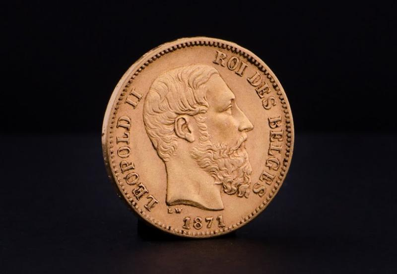 Belgisk Leopold II Guldmønt