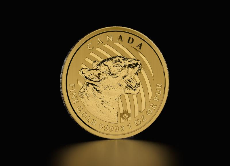 2015 1 oz Canadian Growling Cougar Guldmønt