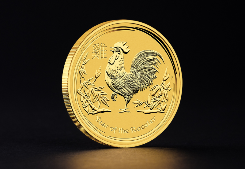 2017 1 oz Australian Gold Lunar Year of the Rooster 1/10 oz